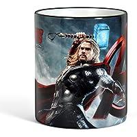 Avengers - Tazza con motivo di Thor - Stampa circolare, manico e bordo colorati per veri fan dei super eroi - Licenza ufficiale - 300 ml