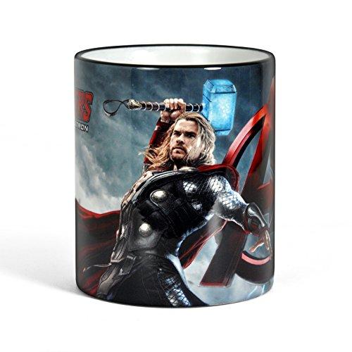 Marvel Avengers Age of Ultron Thor Kaffeebecher Tasse für Superhelden Fans, farbiger Rand und Henkel lizenziert 300ml
