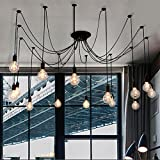 Kronleuchter Vintage Edison E27mehrere verstellbare DIY Deckenleuchte Spider Lampe Anhänger Lighting Kronleuchter Moderne Chic Industrie Esstisch Licht schwarz, schwarz, 14 heads