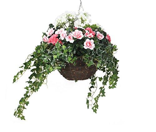 Closer To Nature HBKL23 - Panier en cône suspendu de 35,5 cm de diam et composé de Géraniums roses et blancs/Azalées roses/Feuilles de vigne et Lierre artificiels