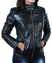 Urban Leather UR- 246 Rt01 Giacca in Pelle da Donna alla Moda, Nero, Taglia L