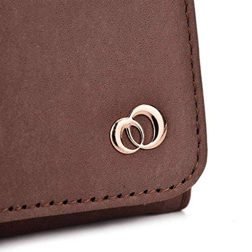 Kroo Pochette en cuir véritable pour téléphone portable pour SHUKAN Q455/GSmart Mika M3 Marron - peau Marron - peau