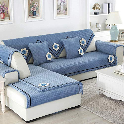 1949shop Kurze Plüsch Gesteppte Möbel Protektoren Abdeckungen für Haustier Hund, einfarbig Sofa Schonbezug Anti-Rutsch-Schnittsofa Wurf Abdeckung Pad für die ganze Saison L U-förmige Sofa-1 Stück-C 2 -