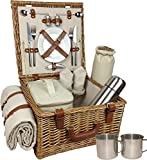 Red Hamper Deluxe Fully Fitted Traditional Picnic Basket - Brown, Medium/2 Persons