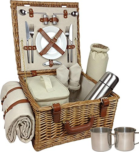 Red Hamper Deluxe Voll ausgestattete traditionelle Wicker Picknickkorb