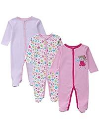 MissChild Pijama Recién Nacido Bebés Peleles Sleepsuit Niñas Niños 3pcs Pijama Entera ...