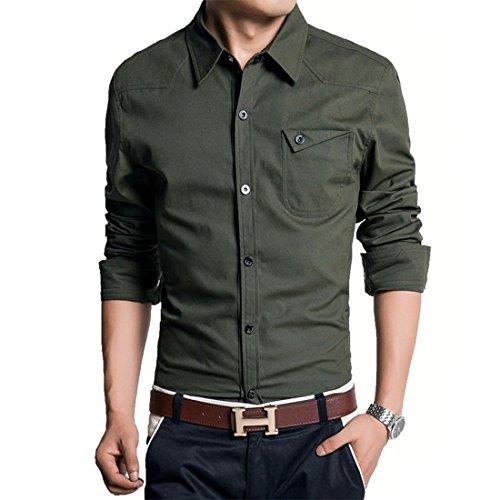 Jeansian uomo maniche lunghe moda men shirts slim uniformi militari casuale collare camicie mcf004 armygreen l