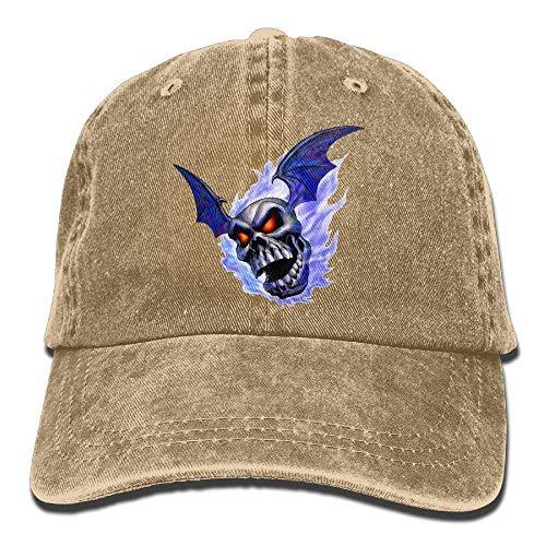 Hoswee Unisex Kappe/Baseballkappe, Skull Burned by Blue Flame Denim Hat Adjustable Women Fitted Baseball Hat -