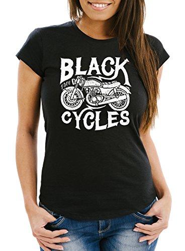 Neverless Damen T-Shirt Motorrad Biker Vintage Retro Slim Fit Schwarz