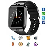 Smart Watch, CoolFoxx DZ09 Bluetooth 4.0 Mutifunctional Wristwatch with Camera Pedometer Anti-lost Tracker Stopwatch Message GSM Music Player Calendar and SIM Card Inserted,Sync with Iphone,Samsung,Motorola,LG,Huawei and Other Android System(Black)