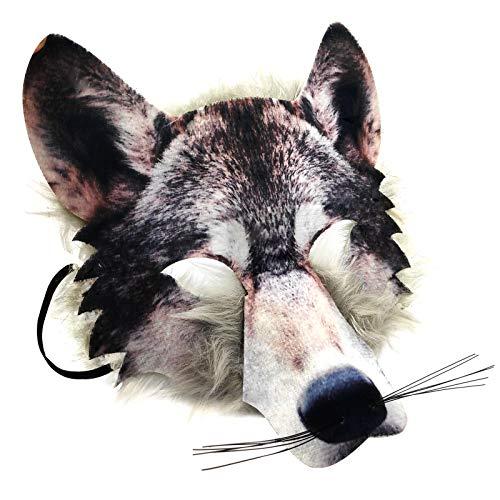 Wolf Kostüm Kind - Für Erwachsene & Kinder Realistische Kunstpelz Wolf Gesicht Maske Pack Animal Jungle Werwolf Buch Woche Kostüm Gesichtsmaske