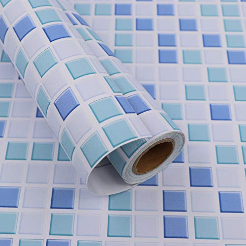 Hode Mosaico Adesivi Decorativi per Piastrelle Cucina Vinile Impermeabile PVC Autoadesivo Decorazione,Mosaico,40X300cm,Carta da Parati per Bagno (Blu) Adesivi per Piastrelle