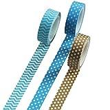 UOOOM 3 Rouleaux 10m x 15mm Washi Tape Ruban Adhésif Papier Décoratif Masking Tape Scrapbooking (10 Modéles) (Design 3001)