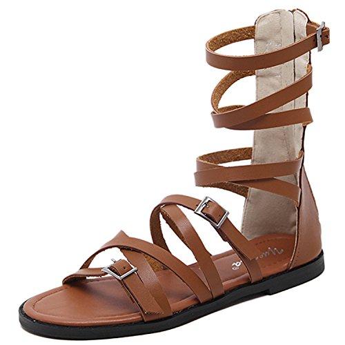 Oasap Women's Solid Open Toe Flat Heels Gladiator Sandals brown