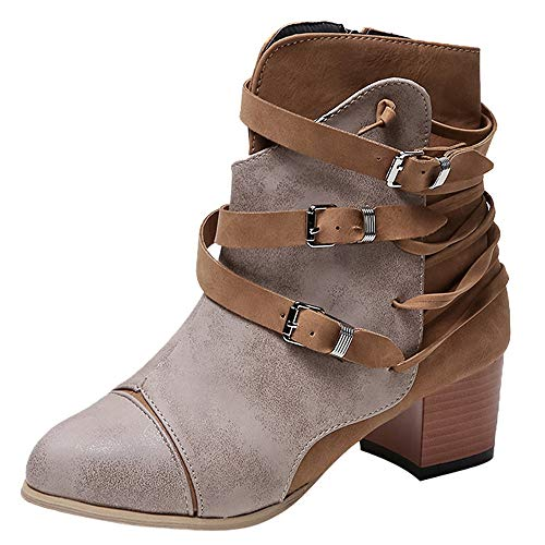 Damen Stiefel,❤️Binggong Damen Quadratischer Absatz Schnalle Leder Stiefel Reißverschluss Stiefel Runde Zehenschuhe