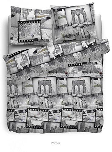 Heckett Lane Bettwäsche Flanell grau Größe 135x200 cm (80x80 cm) Winterlandschaft Foto Film Torbogen (Flanell-bettwäsche Amazon-bettwäsche)