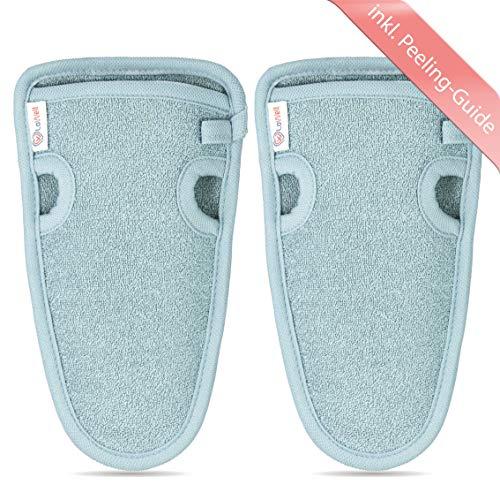 2 Stück - LoWell® ❤ - Peelinghandschuh rau inkl. Peeling-Guide + 2 x BONUS Saugnapf - LUXUS für deinen Körper - Wellness Handschuh - Dusch Schwamm Body - Hamam Handschuhe Gesicht (Grau)