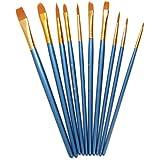 AKORD Câble multifonction en nylon Peinture Pinceaux, en plastique, bleu ciel, Lot de 10