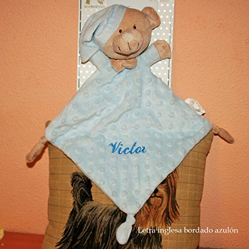 PRIMERAEDAD/Dou-dou personalizado con el nombre del bebé/ color celeste, medida 24 x 24 cm.