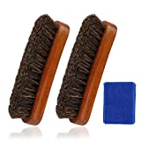 Leather Shine Brush, Soft Horsehair Bristles for Boots, Shoes, Furniture, Car Seats, Interiors