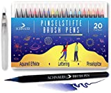 Brush Pen Set - 20+1 Watercolor Set Pinselstifte, Wasserfarben-Stifte + Aquarell, Hand-Lettering E-Book (Deutsch) - Bullet Journal und Kalligraphie Zeichnungen - Hochwertig mit echter Pinselspitze