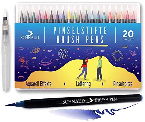 Brush Pen Set 20+1 Watercolor Pinselstifte, Wasserfarben Aquarellstifte, Hand-Lettering E-Book (DE)- Bullet Journal und Kalligraphie Zeichnungen - Art Marker Filzstifte mit Pinsel-spitze zum Malen