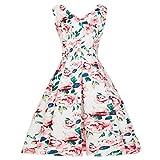 Vintage Kleid, Yesmile Kleider 1950er Jahre Rockabilly Blumen Retro Rockabilly Partykleider Damen Elegant Festlich Kleider Frauen Faltenrock Hochzeit Vintage Bubble Skirt (S, Rosa)