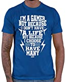 HARIZ  Herren T-Shirt Gamer Many Lives Gamer Gaming Sprüche WASD Geburtstag Plus Geschenkkarten Royal Blau XS
