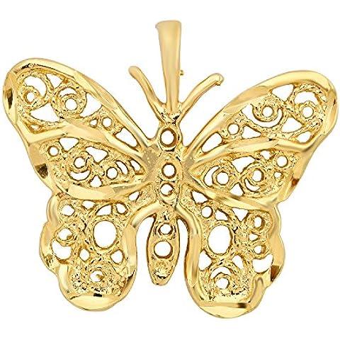 Da donna placcato oro filigrana pendente a farfalla