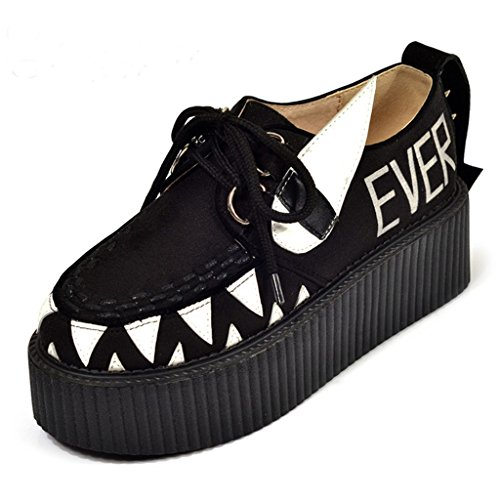 RoseG Mujer Zapatos Plataforma Gótico Punk Creepers Cordones...