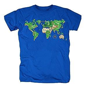 TSP Mario Mapa del Mundo Camiseta para Hombre T-Shirt