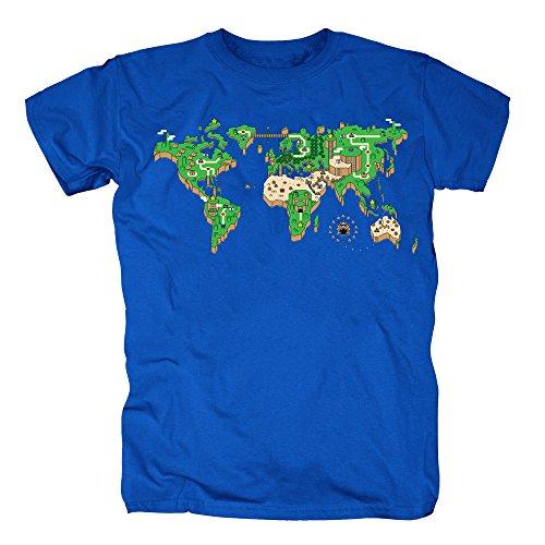 TSP Mario Mapa Mundo Camiseta Hombre T-Shirt XXL Azul