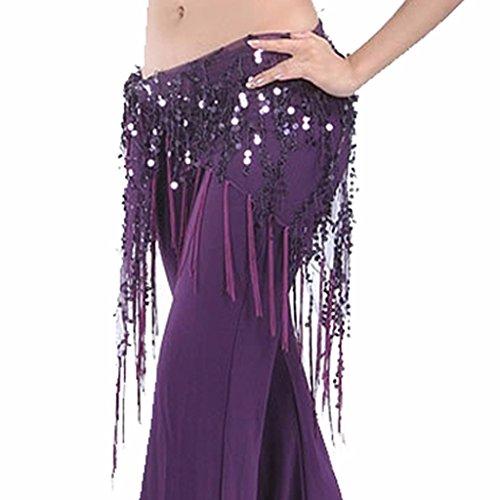 Best Dance Damen Hüft-Schal in Dreieck-Form mit Pailletten und langen Fransen, Wickel-Netz-Rock mit Bund, violett (Fransen-dreieck)
