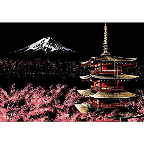 Kenebo Kratzbild DIY Nachtsicht Kratzbrett beruhigend Stress Kunst Papier Regenbogen Pad für Erwachsene und Kinder 40.5 * 28.5cm Mount Fuji -
