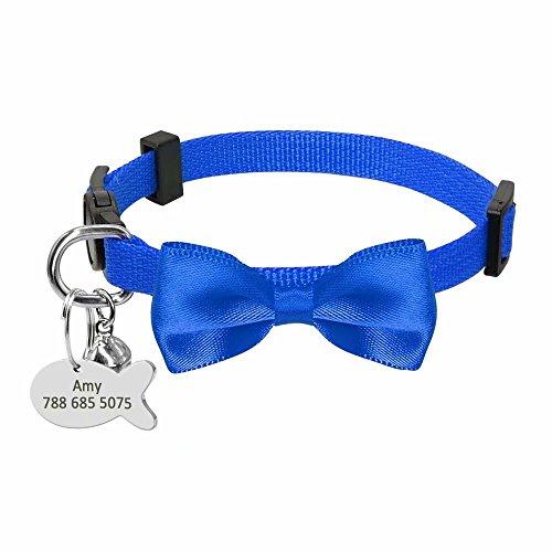 Didog Soft Nylon abtrünnigen Fliege Halsband mit Fischform ID-Tag für Kleine Hunde und Katzen -