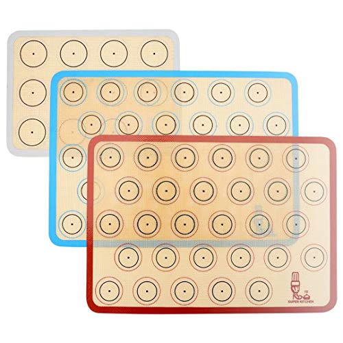 SUPER KITCHEN Backmatte aus Silikon für Macaron Keks - 3-Stück Set, Antihafte Matte für Makronen/Kuchen/Brot, 42x29,5 cm; 29, 2cm×21,6 cm