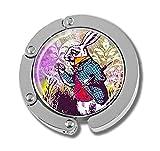 Taschenhaken, faltbar, Kaninchen und Uhren, Glas, mehrfarbig