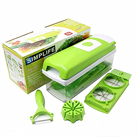 Multipurpose Chopper-stainless Steel Blade for Quick Spiral Slicing-grater Kitchen Tool Set-one Touch Food Chopper, Slicer and Cutter-12 Pieces -12 in 1