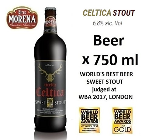 Birra Morena Celtica Stout 6,8 % alc vol ml 750 World's Best Sweet Stout taste caramel vanilla chocolalate Artigianale Craft Beer Italian Beer Award Best Gift Events Christmas Easter