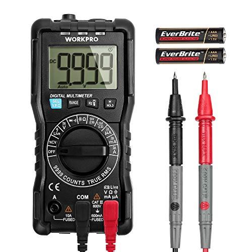 WORKPRO Digital Multimeter 9999 Counts mit Hintergrundbeleuchtung & Durchgangsprüfung Auto Range, Strommessgerät Voltmeter Ohmmeter Amperemeter, True RMS, Außenleiter-Identifizierung
