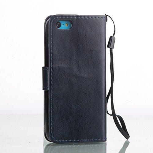 iPhone Case Cover IPhone 5C Case, fleurs papillon en relief de cas PU Leather Flip Stand Case magnétique Wallet affaire avec des poignées à main Slots de carte pour iPhone 5C ( Color : Red , Size : IP Dark Blue