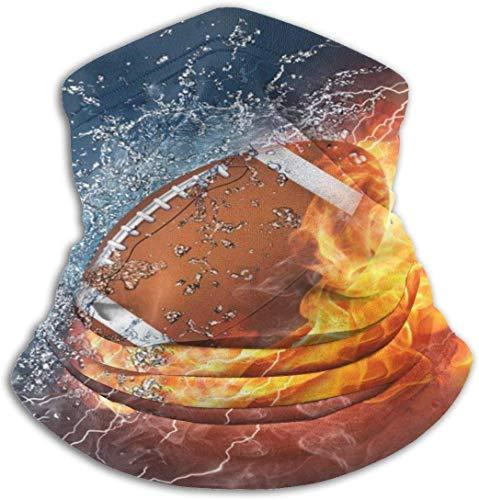 Wfispiy American Football In Feuer und Wasser Nackenwärmer Anti-UV-Nackenschutz Winddicht Angeln Maske