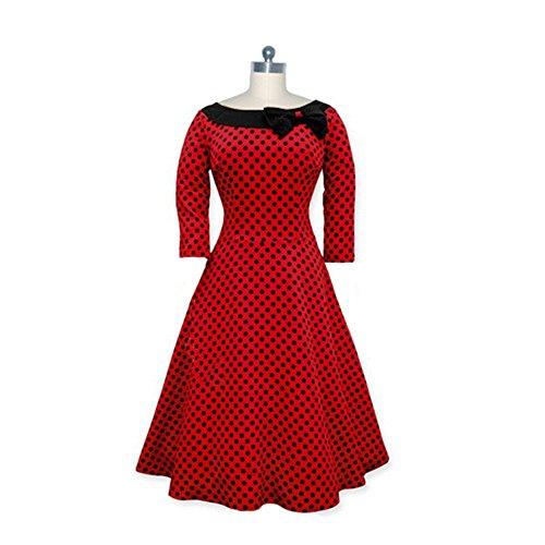 Dabag -Charmant Retro monochrome Printing point Slim genou longueur 3/4manches grand Swing Robe Butterfly Knot (XXL, Rouge foncé) Rouge