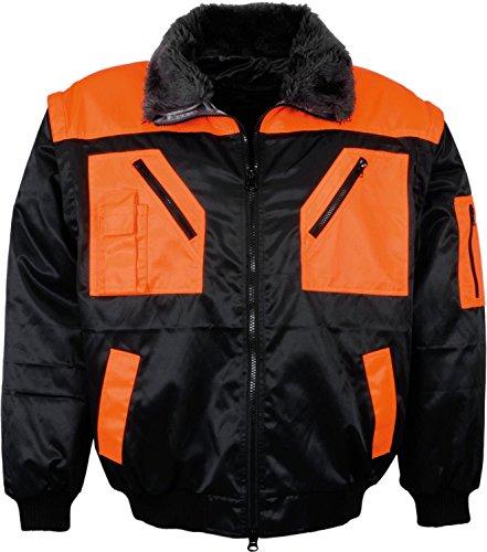 "Lei Ka Tex Pilotenjacke ""Kaisertal"" 4 in 1 Schwarz/Orange Gr. S-XXXL schwarz/orange"