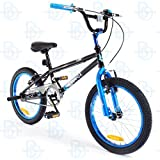 SilverFox Freestyle BMX Plank 18' Bike with Stunt Pegs in Black and Blue - Boys