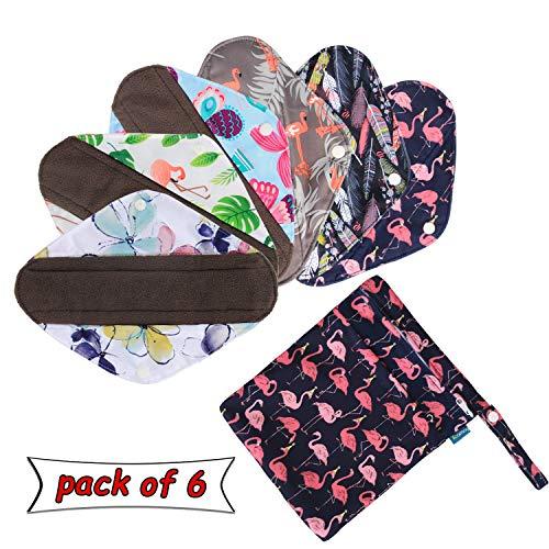 Teamoy Wiederverwendbare Binden, 6 Stück Slipeinlagen Waschbar, Baumwolle Menstruation Pads mit EXTRA Waschbare Tasche, (Mittel-25,5 cm / 10 Zoll)