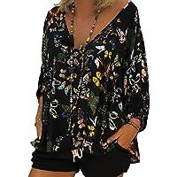 junkai Frauen Casual Schmetterling Print 3/4 Ärmel Tops Bluse Pullover T-Shirt S-5XL