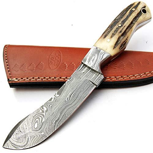 PAL 2000 SGMB-9384 Couteau damassé fabriqué à la Main en Damas Couteau 21 cm avec Fourreau en Cuir | Cuisinier | Camping | Cuisine | lingots en Acier damassé | Barre en Acier Damascus