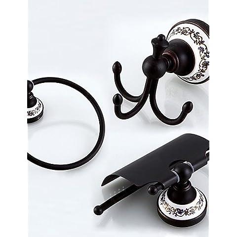 ZDQ-Set de Accesorios de Baño / Soporte para Papel Higiénico / Gancho para Albornoz / Calentador de Toallas / Bronce con Baño en Aceite / , black