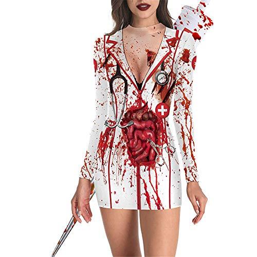 ZHAOXUAN Effrayant Mort Zombie infirmière cadavre Vampire Cosplay Filles Femmes Halloween Horreur fantôme Robe vêtements cri Costumes Costumes Tenue Plus la Taille Blanc